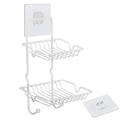 XING-RUIYANG Wall Mounted Soap Dish, Adhesive Stainless Steel Soap Sponge Holder Tray Bar with Hooks for Bathroom, Shower, Kitchen, Tub