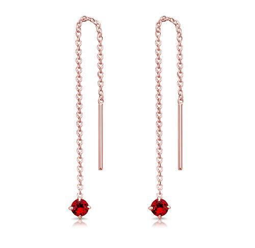 DTPsilver Pendientes Pequeños con Cadena y colgante con 3 mm Cristal Swarovski Elements - Plata de Ley 925 Plateado en Oro Rosa - Longitud 57 mm - Color: Siam Rojo