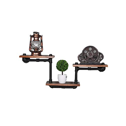 HYXFC Floating Shelves Wall Mounted Closet Hanging Shelv Wall Shelf,Iron Pipe Wall Shelves Industrial Style Wall-Mounted Shelf 3 Tier Unit Rustic Floating Shelves
