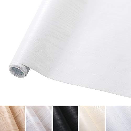 KINLO 0.61M*5M(1 rotolo) Adesiva per Mobili Finto legno grano Bianco PVC Impermeabile Antibatterico e Anti-umidità Wall Sticker autoadesive rinnovato mobili/parete/vetro/marmo ecc.