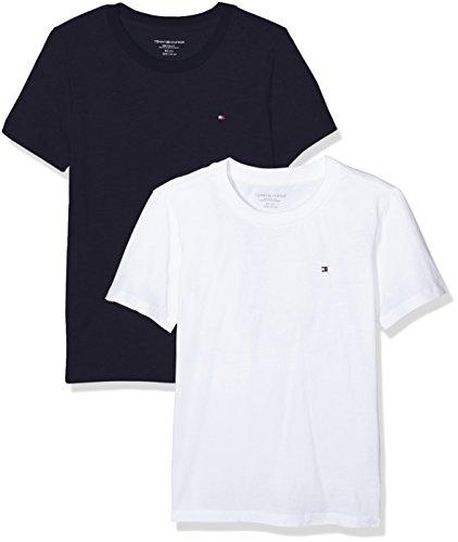 Tommy Hilfiger Jungen Cotton cn tee ss icon 2 pack T-Shirt, Mehrfarbig (White/Navy Blazer 103), 140 (Herstellergröße: 8-10) (2er Pack)