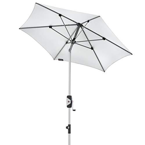 Knirps Sonnenschirm Automatic - Runder Kurbelschirm - Modernes Design - Starker UV-Schutz - 220 cm - Weiss