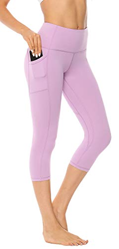 AFITNE Yoga Pants for Women High Waisted Capri Leggings Tummy Control Athletic Workout Leggings with Pockets Fitness Tights Gym Activewear Lavender - XL