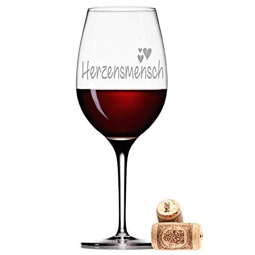 FORYOU24 Leonardo Weinglas mit Gravur Motiv Herzensmensch Wein-Glas graviert Geschenkidee Muttertag