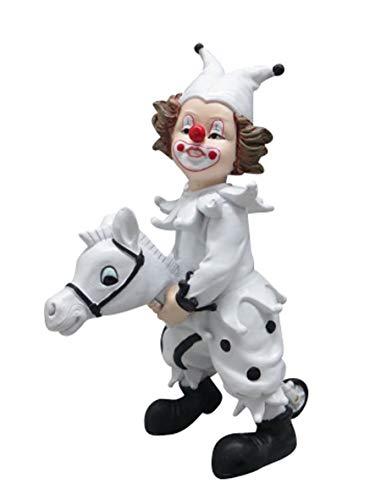 Oberle Dekofigur Clown auf Steckenpferd schwarz weiß 16 cm Figur Karneval Köln Harlekin
