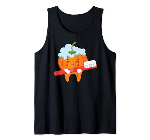 Dientes-cepillo calabaza perezoso DIY Halloween disfraz divertido Dental Camiseta sin Mangas