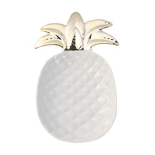 Yardwe Keramik Schmuck Schale Ananas Ringhalter für Halskette Armband Ohrringe Ringe Organizer (Weiß