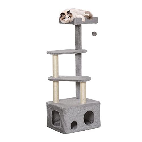 Pawhut Kratzbaum mit Katzenhöhle Ballspielzeug Katzenbaum Kletterbaum für Katzen Mehrstufiges Multiaktivitätszentrum E1 MDF Sisal Grau 52 x 42 x 125 cm