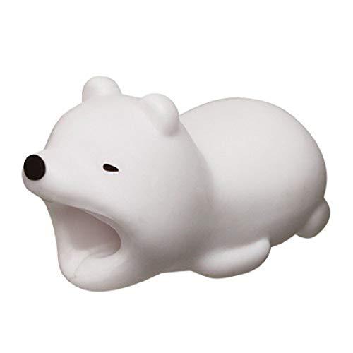 Cosanter Protector de Cable Diseño de Animales para iPhone, Protege el Cable y Evita roturas (Oso Blanco)
