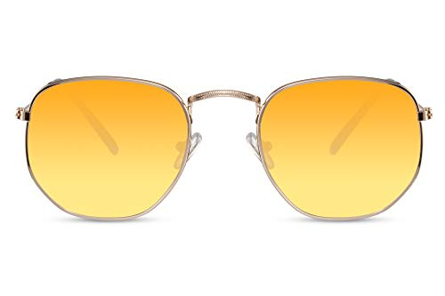Cheapass Sonnenbrille Hexagonal Gold Orange Verlaufsglas UV-400 Transluzent Designer-Brille Damen Herren