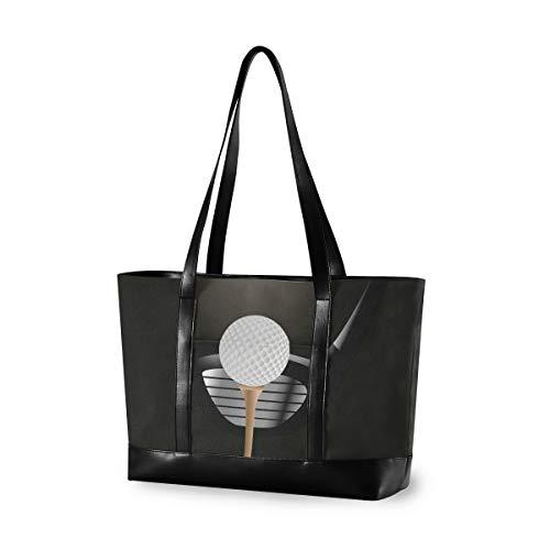 LENNEL Sac fourre-tout pour ordinateur portable de 15,6 pouces pour femmes Sac à main en toile Sac à bandoulière léger en cuir Balle de golf sous les projecteurs