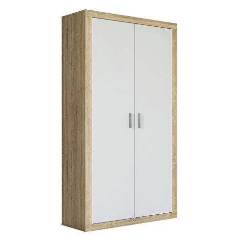 Armario Dos Puertas Dormitorio habitación, Acabado en Color Blanco y Cambria, Modelo Lara, Medidas: 105 cm (Largo) x 208 cm (Alto) x 50 cm (Fondo)