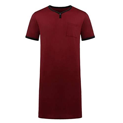 Herren-Nachthemd aus Baumwolle, kurzärmelig, V-Ausschnitt, locker, bequem,...