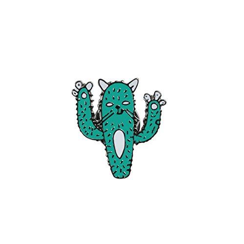 Broches de dibujos animados de plantas lindo mini cactus en maceta, pinchos esmaltados, chinchetas, pin de solapa, bolsa de icono, monstruo oscuro