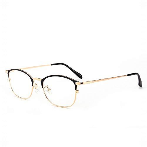 XIAOTANBAIHUO Anteojos Gafas retro anti-azul para hombre montura de gafas medio marco (Color : Oro)