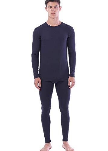 Calzoncillos largos para hombre, conjunto térmico de invierno, capa base ultra suave, ropa interior térmica, Azul marino, 3X-Large