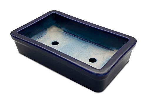 K&K Keramik, vaso per bonsai e piante, rettangolare, da esterno, blu, 29x 18x 7cm, in gres, resistente al gelo