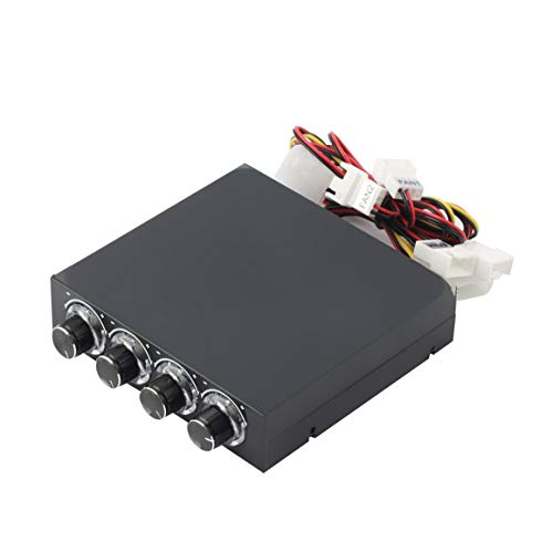 KoelrMsd Caja de PC de 3,5 Pulgadas PC HDD CPU Controlador de Velocidad del Ventilador de 4 Canales con Panel Frontal de refrigeración de Control de Ventilador de Velocidad LED Azul
