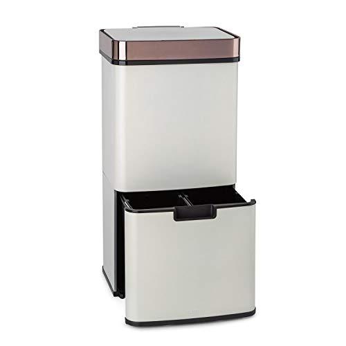KLARSTEIN Royal Trash - Cubo de Basura con Sensor, Apertura y Cierre automático, 72 L de Volumen en 4 recipientes, Basura y desechos reciclables: 43 y 2 x 12,5 L, Cubo Bio con Tapa: 4 L, Blanco