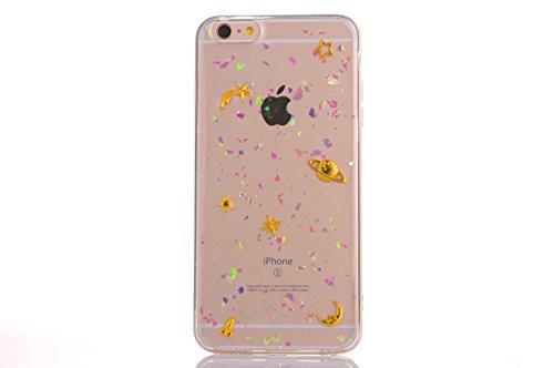 CrazyLemon pour iPhone 7 / iPhone 8 Mignon Housse Coque, Vernis Technologie Soft TPU Silicone Gel Caoutchouc Peau Effacer Coque pour iPhone 7 / iPhone 8 4.7 Pouces - Star et la planète