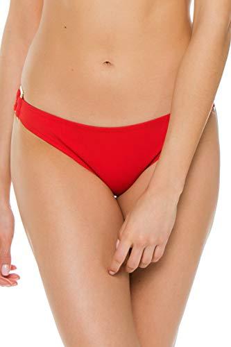 Heidi Klein Women's Body Ring Side Hipster Bikini Bottom Red M