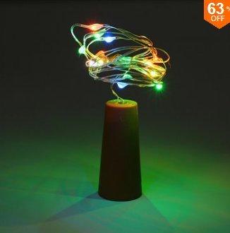 MASUNN Batterie Alimenté 10 LEDs Liège en Forme De Nuit Étoilée Lumière Bouteille De Vin Lampe De Vacances pour Noël Party-Multicolor