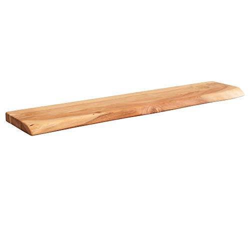 FineBuy Wandregal mit Baumkante Akazie Massivholz Unbehandelt | Design Schweberegal Wandboard Massiv | Regal Holz Natur | Landhausstil Hängeregal