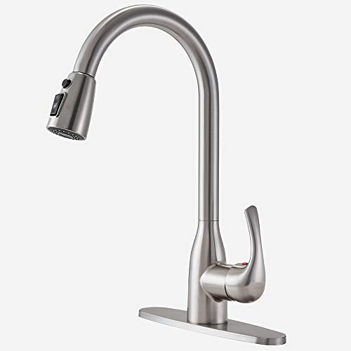 Modern Commercial Brushed Nickel Stainless Steel Single Handle Pull Down Sprayer Kitchen Sink