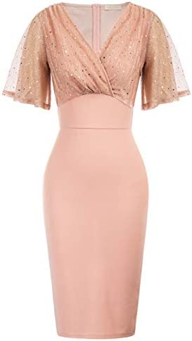 Women s Elegant Cocktail Party Dress Plus Size Belle Sleeve Pink Pencil Dress for Knee Length product image