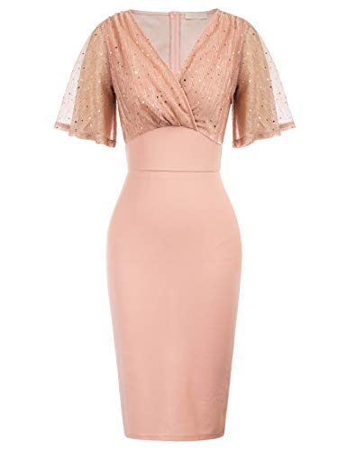 Belle Poque Elegant Damenkleider Partykleid Etui Sexy Cocktailkleid Casual Urlaub Kleid BP21S21-1 S