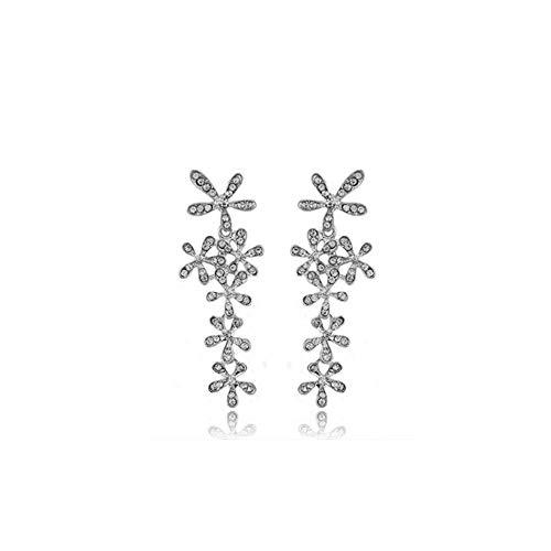 THj Pendientes Largos con borlas Pendientes de Flores Florales de Diamantes de imitación , 6,6 x 2,2 cm