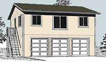 Garage Plans: Three Car, Two Story Garage with 2 Bedroom Apartment, Outside Stairs - Plan 1632-1
