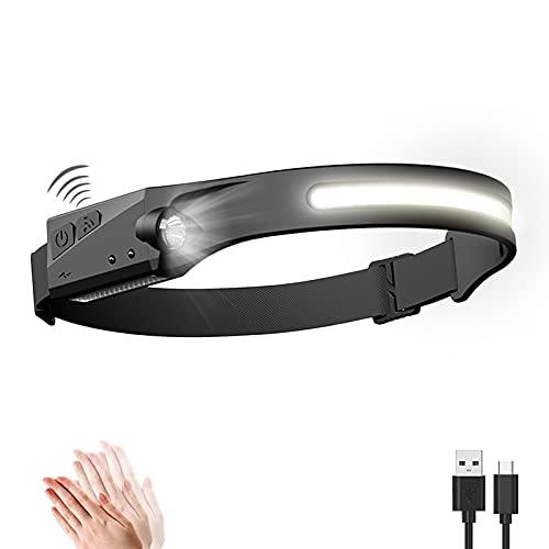 Linterna Frontal LED USB Recargable, Linterna Cabeza Muy Brillante, 5 Modos de Luz , IPX4 Impermeable, Mini Frontal LED para Correr, Acampar, Pescar, Ciclismo, Camping, Niños