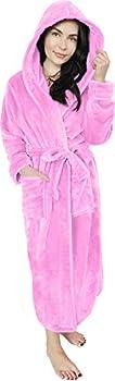 NY Threads Women Fleece Hooded Bathrobe - Plush Long Robe  Large Pink