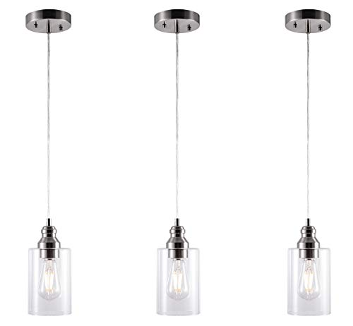 YaoKuem Pendant Lighting Fixture, Hanging Ceiling Lights with E26 Medium Base, Metal Housing with Clear Glass, Bulbs not Included (Nickel, 3-Pack)