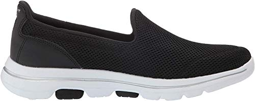 Skechers Damen Go Walk 5 Slip On Sneaker, Schwarz (Black Textile/White Trim Bkw), 35 EU (2 UK)