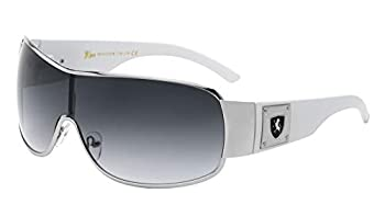 KHAN Block - Curved One Piece Shield Sunglasses  White