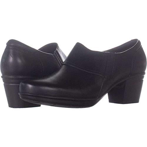 Price comparison product image CLARKS Womens Emslie Craft Leather Almond Toe Clogs,  Black,  Size 8.5