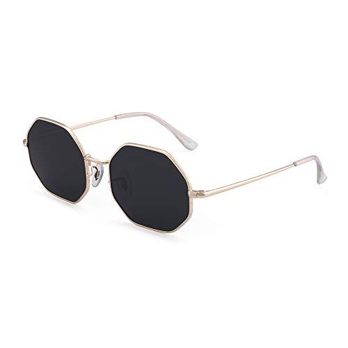 GLINDAR Square Polarized Sonnenbrille für Männer Frauen Achteckige Linse UV400 (Goldrahmen/Graue Linse)