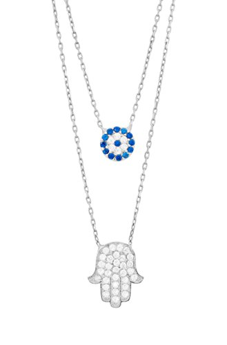 Remi Bijou - 925 Sterling Silber Zweilagige Halskette Kette + 2 Anhänger - Zirkonia Steinchen - Evil Eye blaues Auge Fatimas Hand Hamsa