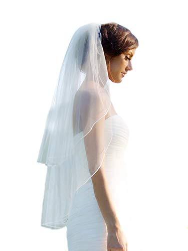 Barogirl 2-stufiger Hochzeitsschleier Fingerspitzenlänge mit Bleistiftkante weich Braut Rouge...