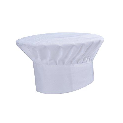 JEMOTEK Chef Hat Size Adjustable Mushroom Chef Hat for Pastry Kitchen Cooking Chef Works (White)
