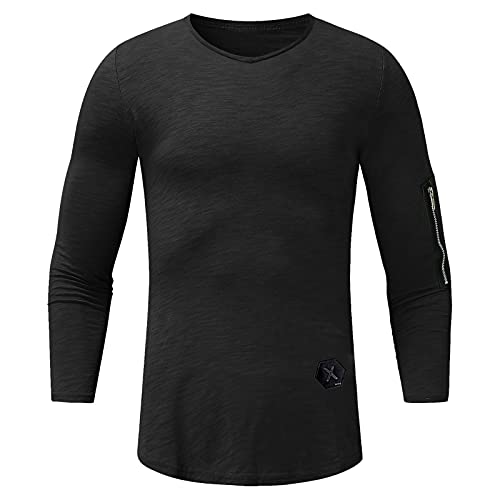 Tops for Men Slub Cotton Arm Zippered Long Sleeve Round Neck Solid Color T-Shirt Autumn/Winter Casual Slim Blouse Tee (02 Black, XL)