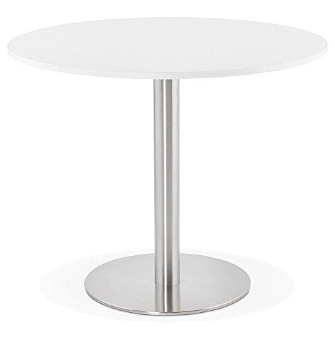 Alterego Petite Table de Bureau/à Diner Ronde 'Dallas' Blanche - Ø 90 cm