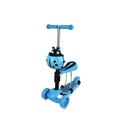 Chipolino Kinderroller, Rutscher Kiddy 2 in 1 Höhe einstellbar 3 Räder mit Licht, Farbe:hellblau