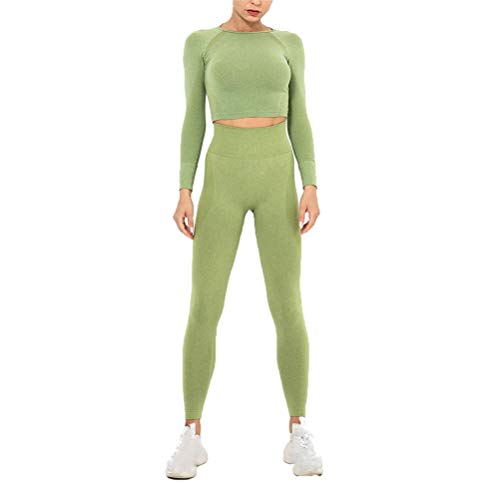 Conjunto de Ropa Fitness Deportiva para Mujer, Trajes de Entrenamiento de 2 Piezas Yoga chándal inconsútil de la Alta Cintura Polainas Delgadas de Manga Larga Sports Shirts Operando Crop Top Gym Ropa