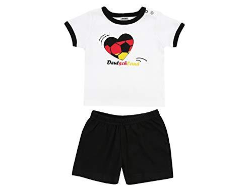 Jacky T-Shirt + Shorts Herz Deutschland WM 2018 Top de Deporte, Niñas, Blanco, 104 (Talla del Fabricante:)