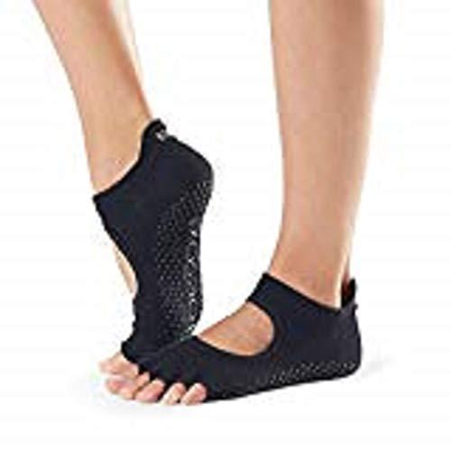 Toesox Half Toe Bellarina Calcetines de Yoga, Unisex Adulto, Negro, S