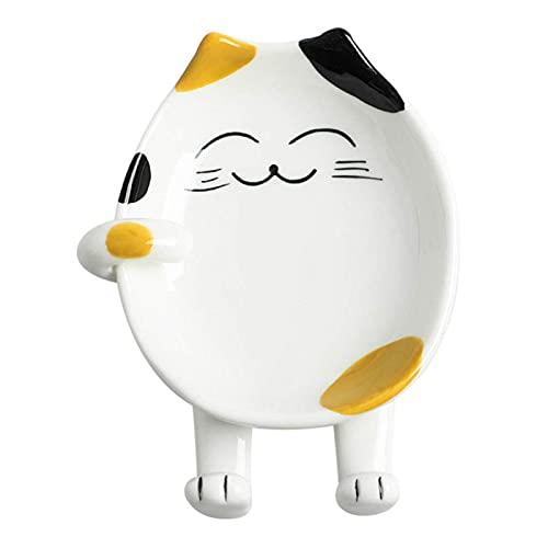 GFDjdfk Reposapiés para Cuchara de Gato para Cocina, Lindo reposapiés de Cuchara para Gato, Rejilla para Cubierta de Olla de Gato de Dibujos Animados, Plato para Servir Yellow
