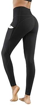 Lingswallow High Waist Yoga Pants - Yoga Pants with Pockets Tummy Control 4 Ways Stretch Workout Running Yoga Leggings  Black XXX-Large